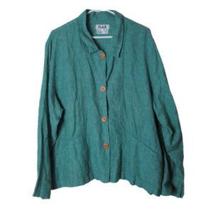 Flax green tunic button down 100% linen lagenlook